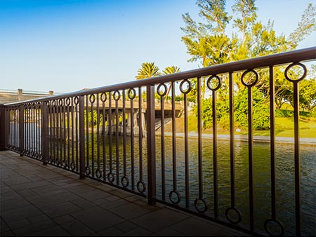 Installed Custom Metal Railing at Villages of Venetian Bay by Valentine Glass & Metals (VGM)